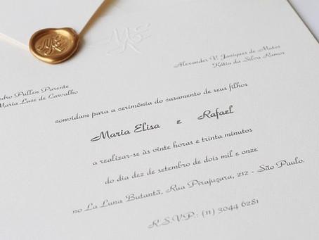 Convite de Casamento Clássico; confira os modelos atuais para te inspirar