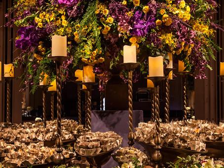 Decoração de Casamento Roxo, Pink e Amarelo no Leopoldo Itaim
