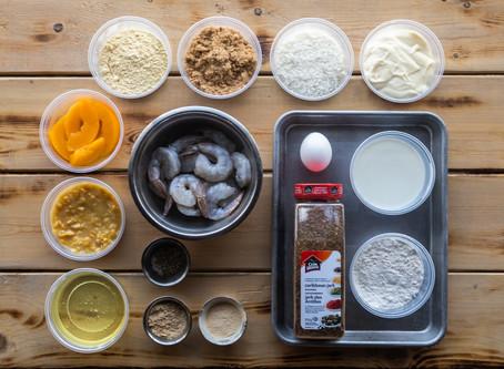 Chef Jenny B's Jerk'd Coconut Prawns w/Blackened Peaches 'N' Cream Corn Aioli
