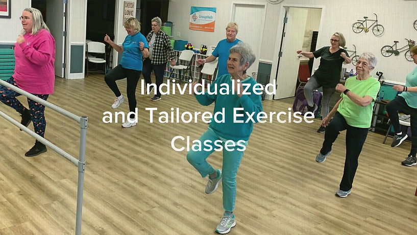 Senior, older adults exercising in a group