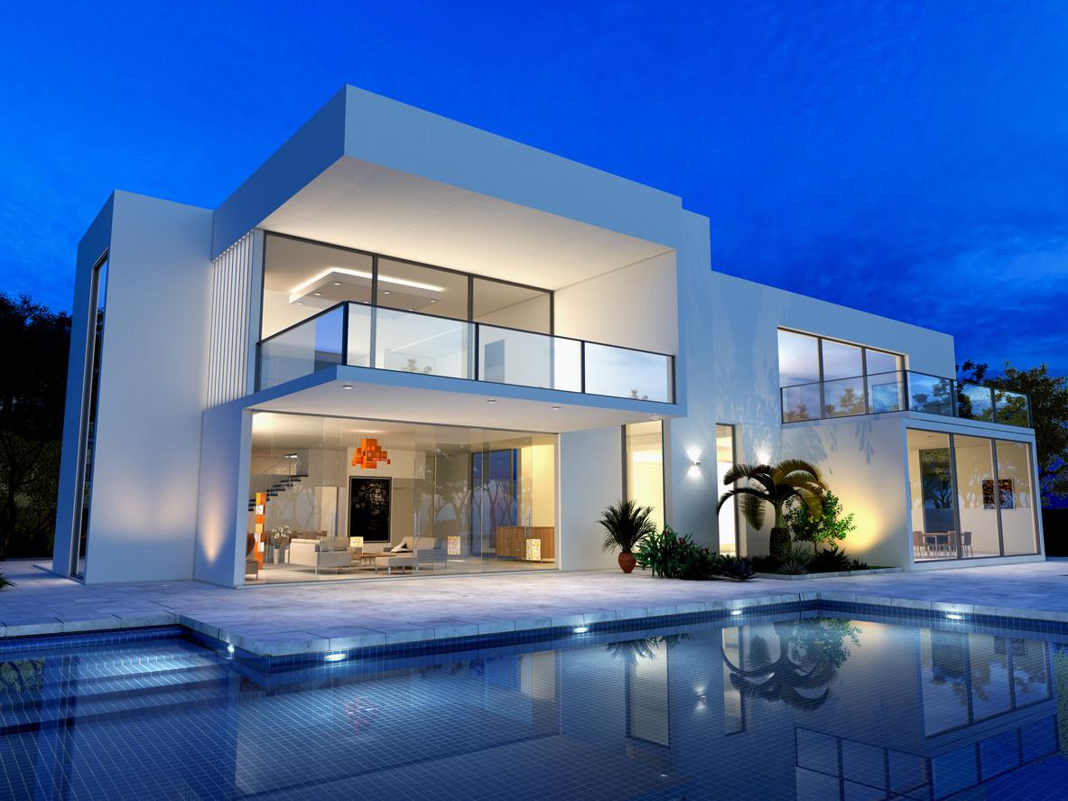 Modern home with an evening glow.jpg