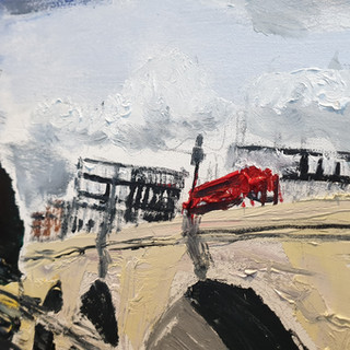 Putney Bridge close up, showing the palette knife effects