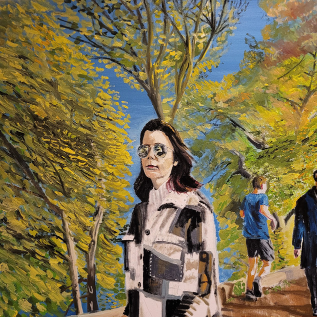 Viviana, Autumn stroll, oil on canvas, 1x0.7m, original £1,500, print £75