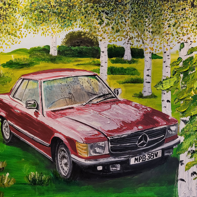 Mercedes-Benz 450SLC, 1979, acrylic on canvas, size 1.5x1m, commission sold