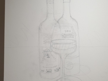 A 1x0.5m canvas. I start with a pencil sketch, then prime with gesso to key acrylic later