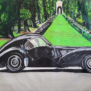 Bugatti Type 57SC Atlantic, Oil on canvas, 90x60x2cm framed gloss black tray frame, £1,500, print A3 size £75