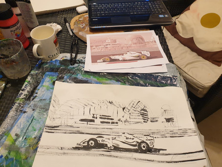 Time to paint some F1 championship winning cars in action with their drivers at the wheel!