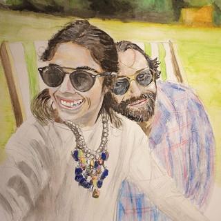 Couple, watercolour, A3 size