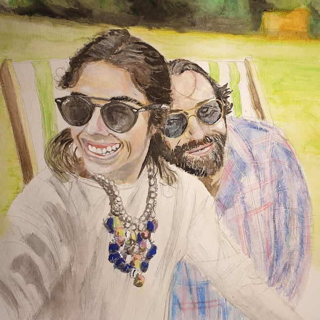 Couple, soluble pencils and watercolour, A3 size, original - commission sold