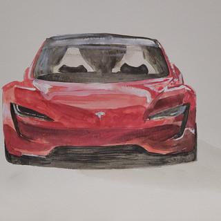 Tesla Roadster front aspect, watercolour, A3 size, original £250, print £75