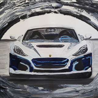 Rimac Concept Two 2020, Dream Car, oil on canvas, original £1,000 print £75