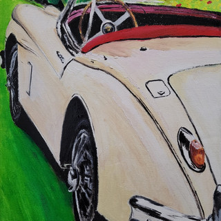 Jaguar XK150 Roadster, 1958, oil on canvas, 16x12x0.8 inches, commission, sold