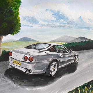 Ferrari 550 maranello, acrylic on paper, A3 size, commission sold