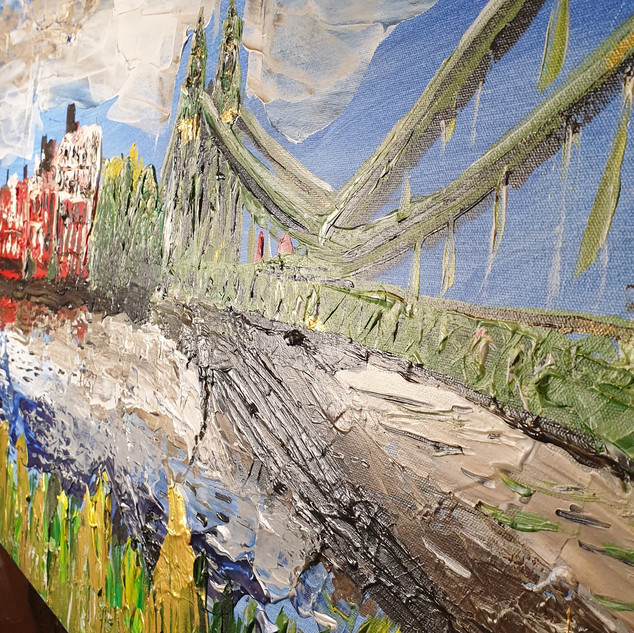 Hammersmith Bridge in Summer, abstract close up one