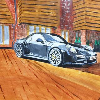 Porsche 911 Turbo S Convertible 2014, A3 size, original sold, print, £75