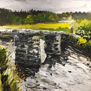 Clapper Bridge in Summer, Postbridge, Dartmoor, UK, acrylic on canvas 100x100x4cm, original £1,500, print £75
