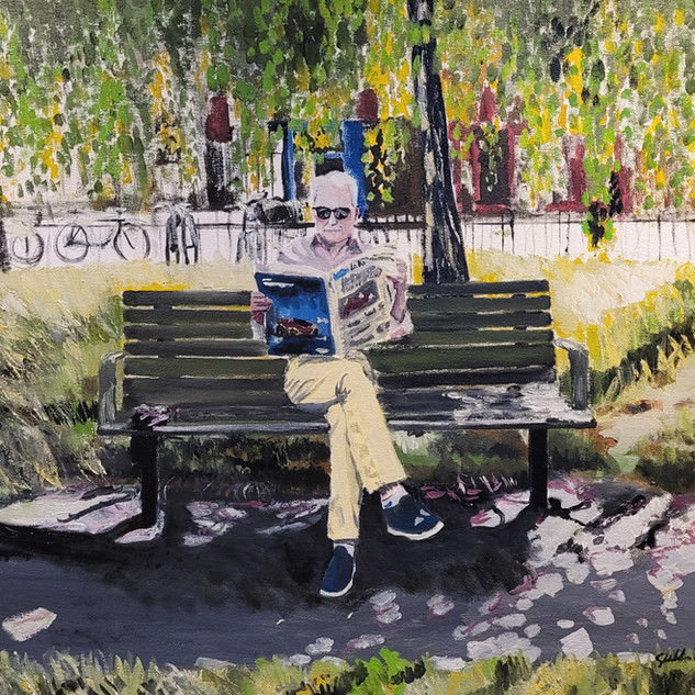 Nino in Acton Park, June '19, oil on canvas, 60x60x4cm, original sold