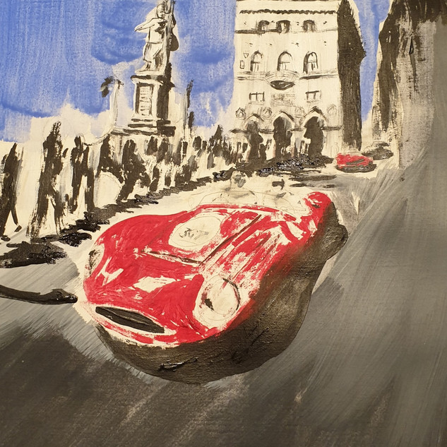 Maserati 420S, 1955, acrylic on paper, A3 size, original sold, print £75