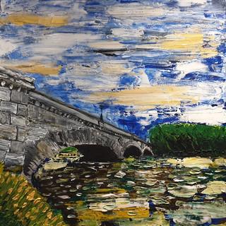 Kew Bridge, acrylic on canvas, size 90x90x4cm, original £1,750, print £75