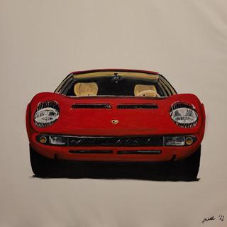 Lamborghini Miura P400, 1968, oil on canvas, 95x95x2cm, original £1,000, print £75
