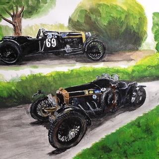Fraser Nash race car 1930's, A3 size, mixed media, original sold, print A3 size £75