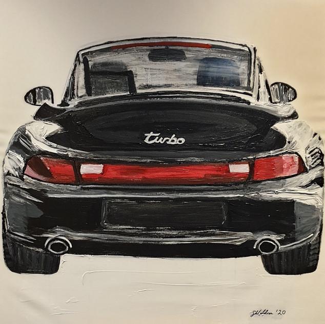 Objects of Desire 3; Porsche 911 Turbo, 1997, acrylic on canvas 100x100x4cm, original £1,500, print £75