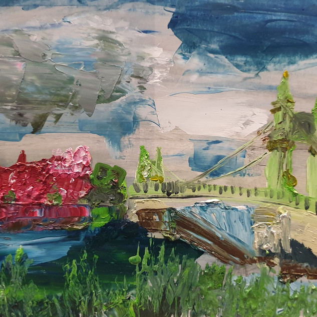 Hammersmith Bridge in Summer, palette knife, oil on paper, size A3, original £550, print £75