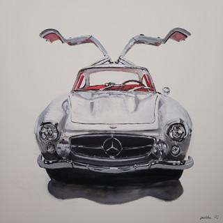 1955 Mercedes Benz 300SL Gullwing, oil and acylic, 90x90x2cm, £1,250