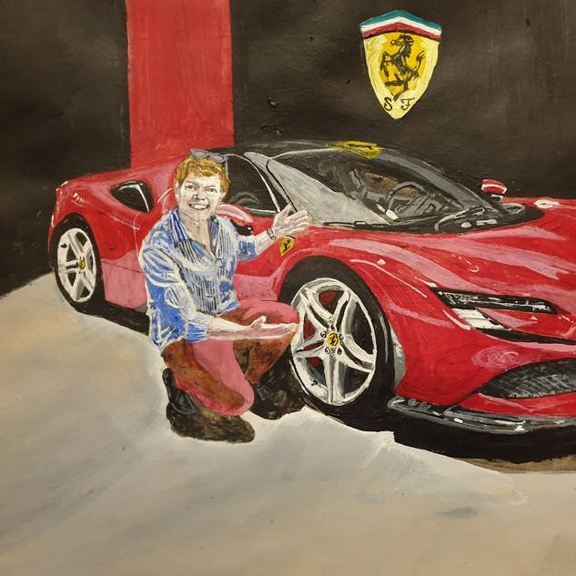 Tim Burton, Youtube name Shmee150 with the Ferrari SF90, A3 size, original £550, print £75