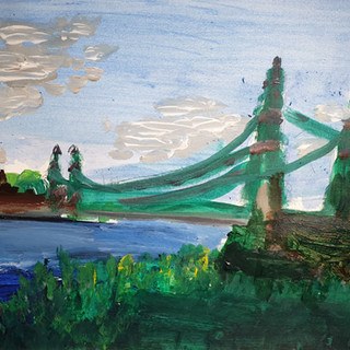 Hammersmith Bridge in Summer, abstract study, acrylic on paper, A3 size, original £200, print £75