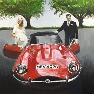 Jaguar E Type Roadster 1969, 80x80x4cm, oil on canvas, commission sold.