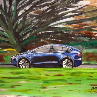 Tesla Model X in Winter, 2018, acrylic on paper, A3 size, original £550, print £75