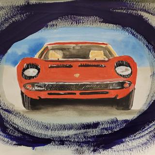 Lamborghini Miura, 1968, Drea Car, watercolour, A3 size, original £250, print £75