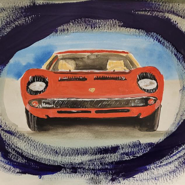Lamborghini Miura 1968 Drea Car, watercolour, A3 size, original £250, print £75