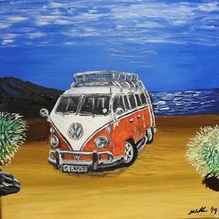 VW Camper split screen 1967, 61x41cm, original sold, print £75
