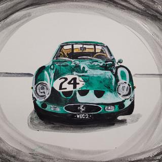 Ferrari 250GTO, 1963, Green, acylic on paper, A3, original £250, print £75