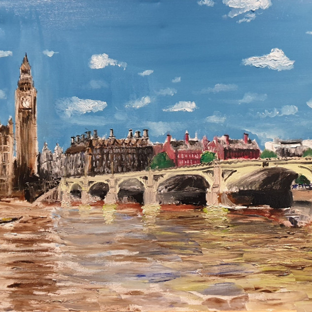 Westminster Bridge in Winter, oil on canvas, 90x60x4cm, original £1,000, print £75