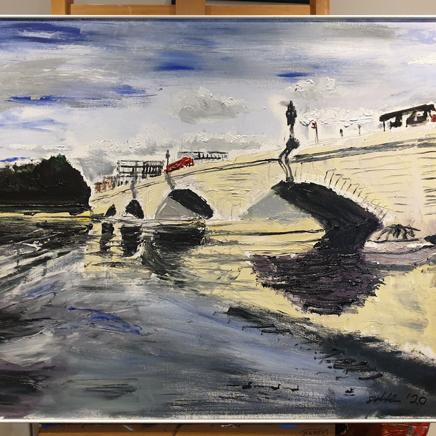 Putney Bridge in June 2020, framed, white tray frame 5mm showing x 30mm thick