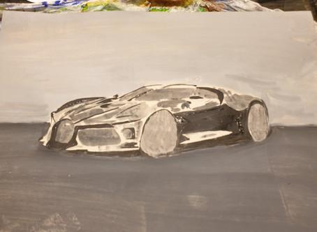 Bugatti La Voiture Noire front aspect on way