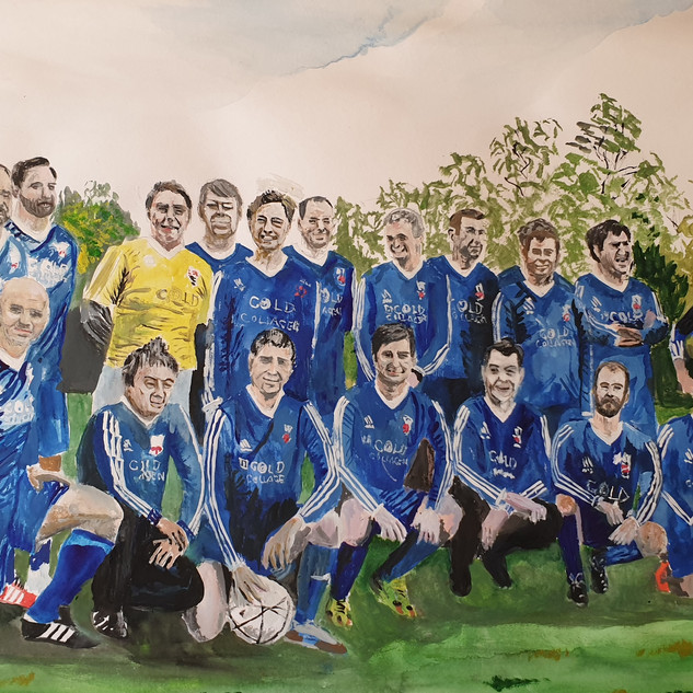 Football team, 96x67cm, watercolour & gouache, commission sold