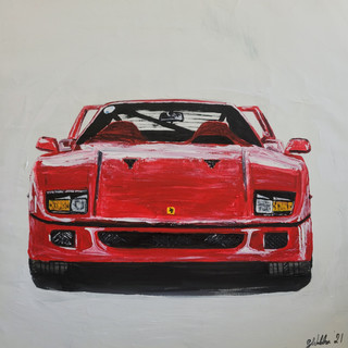 Ferrari F40, 1987, acrylic on canvas, 60x60x2cm, £750, A3 print framed £75
