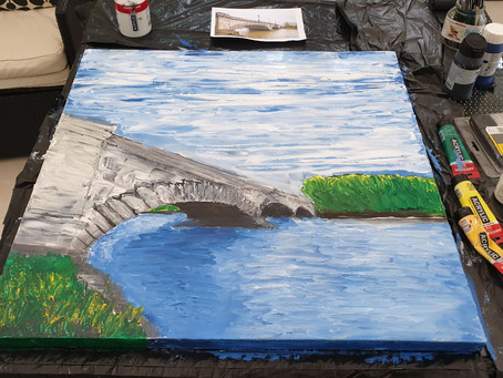 Working on an abstract of Kew Bridge, large canvas 90x90x4cm thick