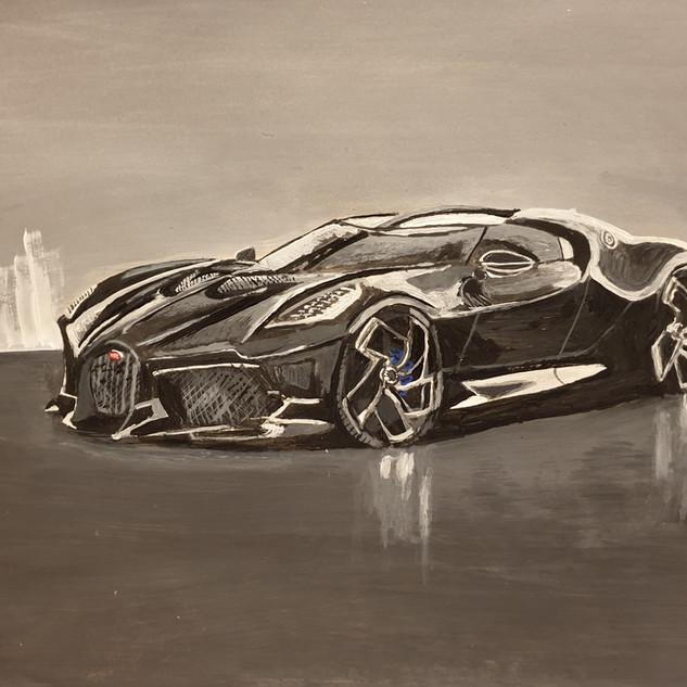 Bugatti La Voiture Noire, front aspect, 2019, A3 size, original £550, print £75