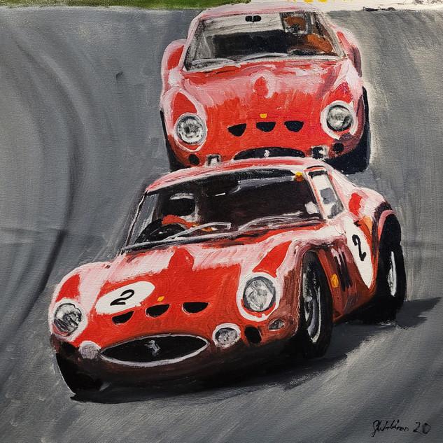 Two Ferrari 250GTOs, Laguna Seca track, California, USA, 2011, oil on canvas, 60x60x2cm, original £1,000, print £75