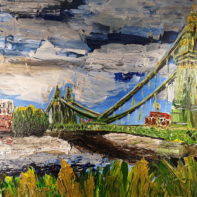 Hammersmith Bridge in Summer, abstract, acrylic on canvas, 150x80x4cm, original sold, print A3 size £75