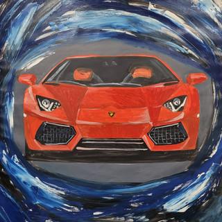 Lamborghini Aventador, oil on canvas, 95x95x2cm, original £1,000, print A3 £75
