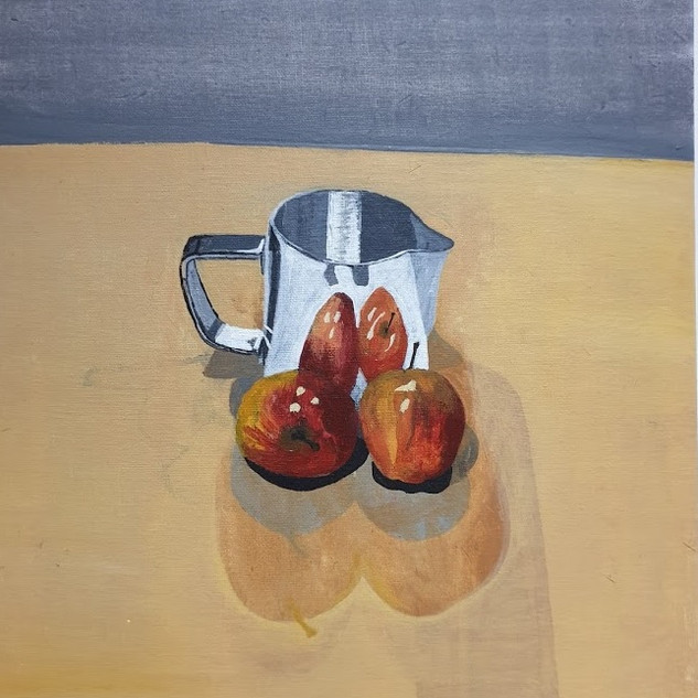 Steel jug & apples, 0.6x0.4m, original £550