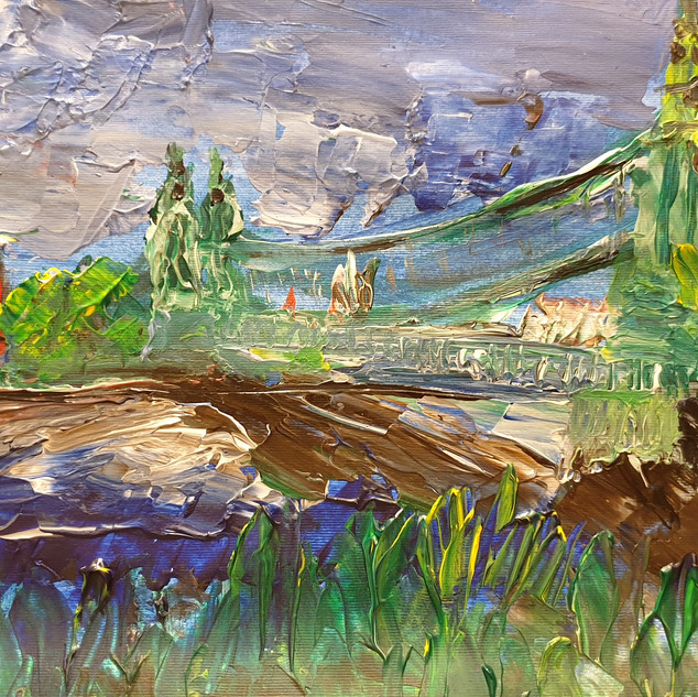 Hammersmith Bridge in Summer, acrylic on paper, A3 size, original sold, print £75