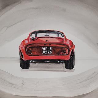 Ferrari 250GTO 1963 back, watercolour, A3, original £250, print £75