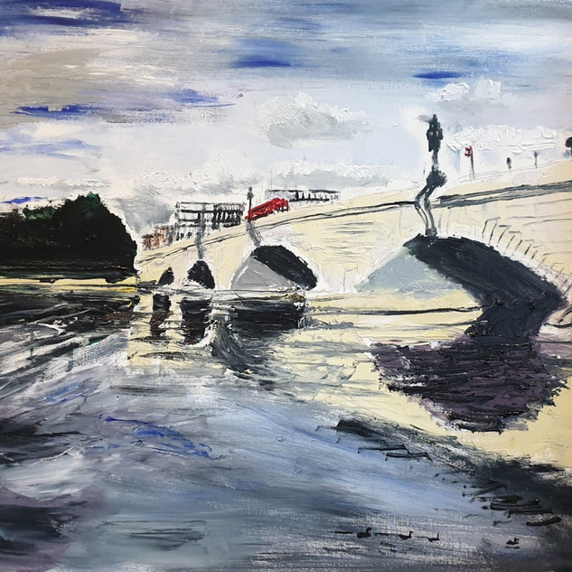 Putney Bridge in June 2020, oil on board, 96x66x1cm, original £995, print £75